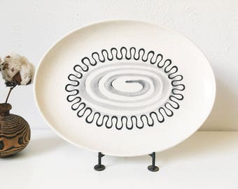 "Vintage Metlox Aztec 13"" Oval Serving Platter + Mid Century Atomic Kitchen + Poppytrail + Minimalist Design"