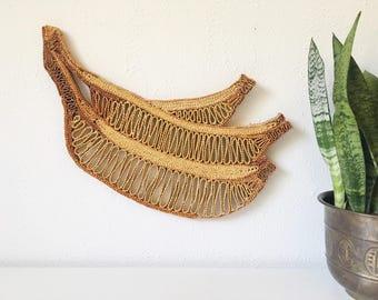 LARGE Vintage Bananas Wicker Raffia Straw Trivet Hot Pad + Boho Natural Bohemian Kitchen Decor + Woven Fruit Wall Hanging