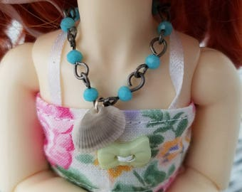 OOAK ball jointed doll YoSD Monster high doll matte silver beaded necklace with seashell charm one sixth doll jewelry