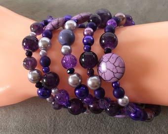 Purple memory wire bracelet, purple cuff bracelet, lavender bracelet.
