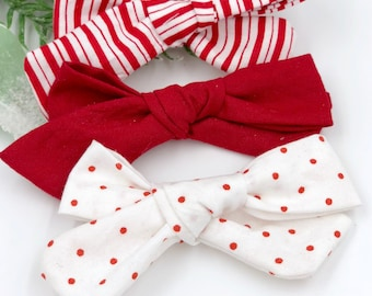 Girl hand tied Bow set - Nylon Headbands - Hair clip - Infant / Toddler /  Fabric Hair Bows / Clips - Christmas - candy cane / red / dots