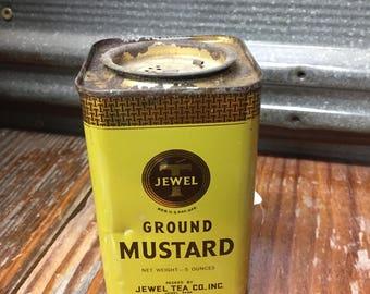 Vintage Jewel T Ground Mustard Tin~Collectible Tins~Farmhouse Decor