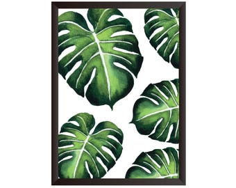 Monstera Leaf Wall Print, Tropical Print, Home Decor, Botanical Wall Print, Plant Leaf Print, Botanical Leaves