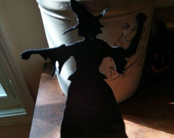 Halloween Scary Witch Sihlouette Wood Cutout