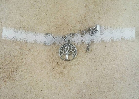 White choker, white lace choker, choker with pendant, tree of life pendant choker, Norse World tree pendant, Tree of life jewelry, gift