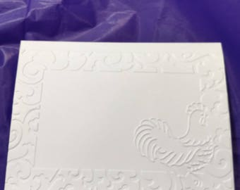 Rooster with border Blank Note Card on white card.  Set of 5.
