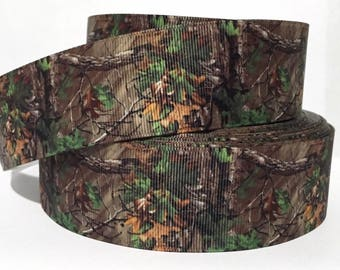 """GROSGRAIN RIBBON 7/8"""" Camo Camouflage Tree CM7 By the Yard"""