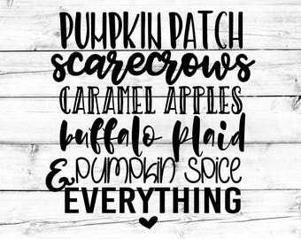 Fall List SVG - Png, Pumpkin Spice Everything Svg, Fall Svg, Pumpkin Patch Svg, Scarecrows Svg, Cricut Svg, Svg Files for Cricut
