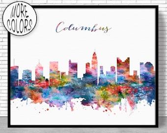 Columbus Skyline Columbus Print Columbus Ohio Office Decor Office Art Watercolor Skyline Watercolor City Print ArtPrintZoneGift for Women