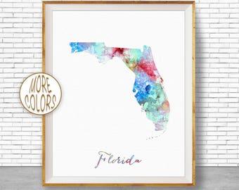 Florida Print Florida Art Print Florida Decor Florida Map Art Print Map Artwork Map Print Map Poster Watercolor Map ArtPrintZone