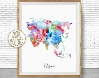 Map of Asia Asia Map Asia Print Asia Continent Map Wall Art Print Travel Map Travel Decor Office Decor Office Wall ArtGift for Women