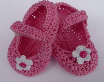 Baby Shoes, Hand Crocheted Mary Janes, Cotton Crocheted Shoes, Made To Order Baby Shoes.
