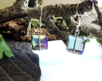 Silver Earrings: square cut iridescent faceted glass beads.