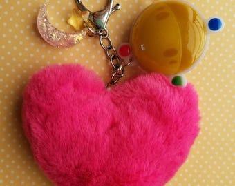 Sailor Moon light heart pom pom keychain
