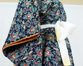 Vintage Silk Kimono Robe - Women's clothing/silk robe/blue robe/kimono jacket/dressing gown/boho kimono/coverup/kimono cardigan/bathrobe