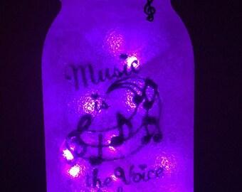 Music Note LED Mason Jar Light
