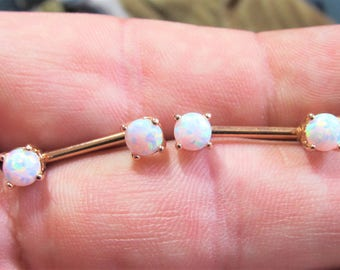 Rose Gold Plated White Opals Nipple Piercing Barbels Set(price for 2) 14g..12mm (5mm opals)