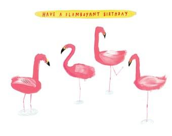 Flamingos Birthday Card