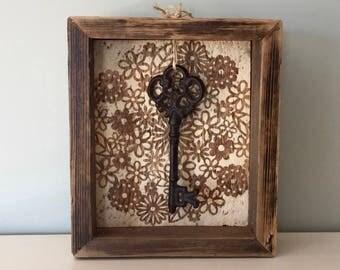 Rustic Shadow Box - Reproduction Vintage Key - Vintage Reclaimed Barn Wood - Shadowbox Display - Floral