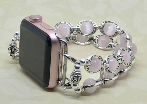"""Apple Watch Band, Women Bead Bracelet Watch Band, iWatch Strap, Apple Watch 38mm, Apple Watch 42mm, Pale Pink Cats Eye Size 8 1/4"""" - 8 1/2"""""""