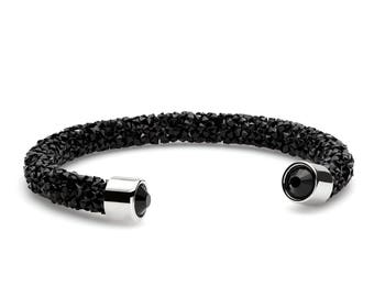 Onyx Black Shimmering Crystal Cuff Bracelet with Swarovski Elements  in Stainless Steel