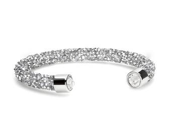 Silver Grey Shimmering Crystal Cuff Bracelet with Swarovski Elements in Stainless Steel