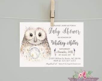 Owl Baby Shower/Neutral Shower Invitation/ Owl Invite/ Owl Baby Shower/ Owl Invitation