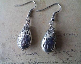 Acrylic drop earrings ~ silver ~