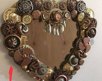 Steampunk Style Mirrors- mirrors- gifts for her- gifts- home decor- repurposed- small mirrors- jewelry- charms- pins