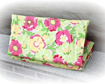SALE! Pink Yellow & Green Floral print Cotton Nap Mat Cover - Kindermat Cover - Preschool - Daycare - Kindergarten