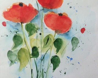 "Watercolor ""Poppy flowers"" flowers, 30 x 40 cm, Watercolour Painting,"