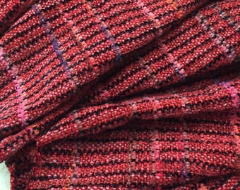 Handwoven Scarf,Shawl, Red and Black