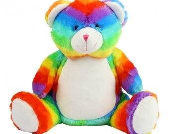 Personalised Rainbow Teddy Bear, Embroidered birthday Gift, Boy or Girl Custom bear, Christening Teddy, 1st birthday Mumbles Teddy