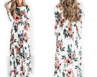 Beautful White Long Floral Summer Dress with pockets