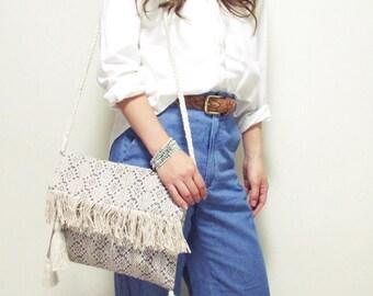 Swaraj Bag geometric pattern shoulder bag - LIGHT GRAY hand woven jacquard 2WAY casual