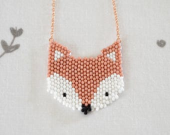 Necklace RENARD // Necklace pink gold chain with a pendant of hand-woven fox head with Miyuki beads