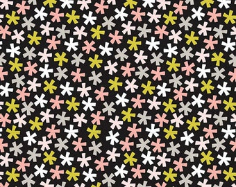 Black Floral Fabric/ Floral Fabric/ Mini Flower Fabric/ Riley Blake Meow/ Riley Blake Fabric/ Pink and Black/ Meow Collection