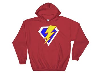 Superhero Lightning Strike Comic Book Hooded Sweatshirt