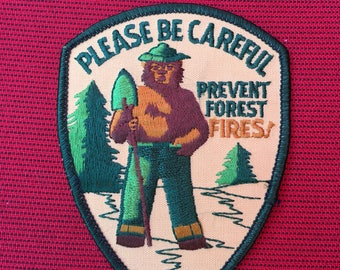 Smokey the Bear Please Be Careful Prevent FOREST Fires! Vintage Patch Mint L@@K CAMPING