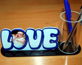 Pencil holder LOVE color picture of your choice
