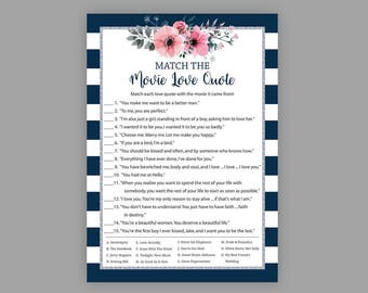 Match the Movie Love Quote, Navy Blue Silver Bridal Shower Games, Printable Bridal Shower, Floral Movie Quote Game, Movie Love Quotes, J022