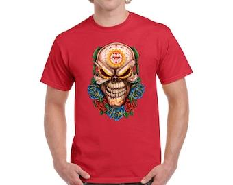 Evil Skull T shirts Shirts Tee Tops Evil Dead Men's T-shirts Day of the Dead Dia de Los Muertos Skull