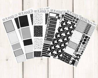 Black & White Weekly Planner Sticker Kit   Weekly Planner Sticker Kit   Matte - Glossy - Removable   Erin Condren Vertical Planner   #LOBW1