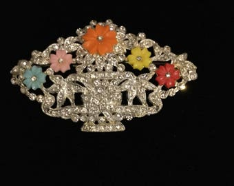 AMAZING  FLOWER BASKET with Molded Glass Flowers/Fruit Salad Brooch Unsigned