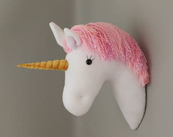 Handmade Plush Taxidermy Pink Wool Mane Wall Mounted Unicorn Head Girls Bedroom Nursery Decoration