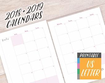 2018-2019 Calendar, Printable Planner Pages Letter Size, Daily Planner Refill, Bullet Journal Template, Dot Grid, Agenda Planner A4 Calendar
