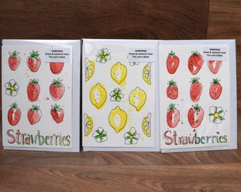PACK OF 3 hand painted, hand drawn unique strawberry, lemons,fruit,colourful,party,festival,gardener,gardening, thank you greeting cards