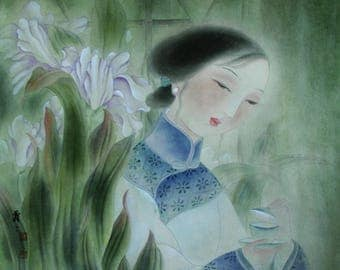 Oriental Painting, Chinese Lady Print, Chinese Art Print, Oriental Art Print, Original Art Prints