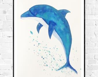 Origineel dolfijn schilderij-zee kunst-kunst voor kinderkamer-dolphin art-seagreen art-zen art-animal art-dolphin lovers-nautische kunst