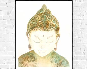 Original serene buddha painting-Buddha painting-zen art-yoga art-spiritual art-art bouddha-zen-meditation watercolor art-gift for her